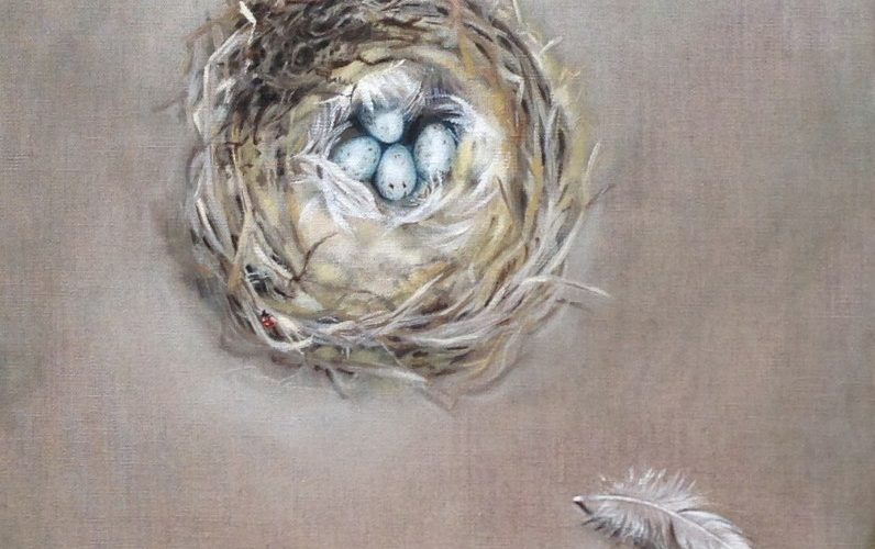 "SANDI'S NEST  oil on linen  14 x 14""  sold"