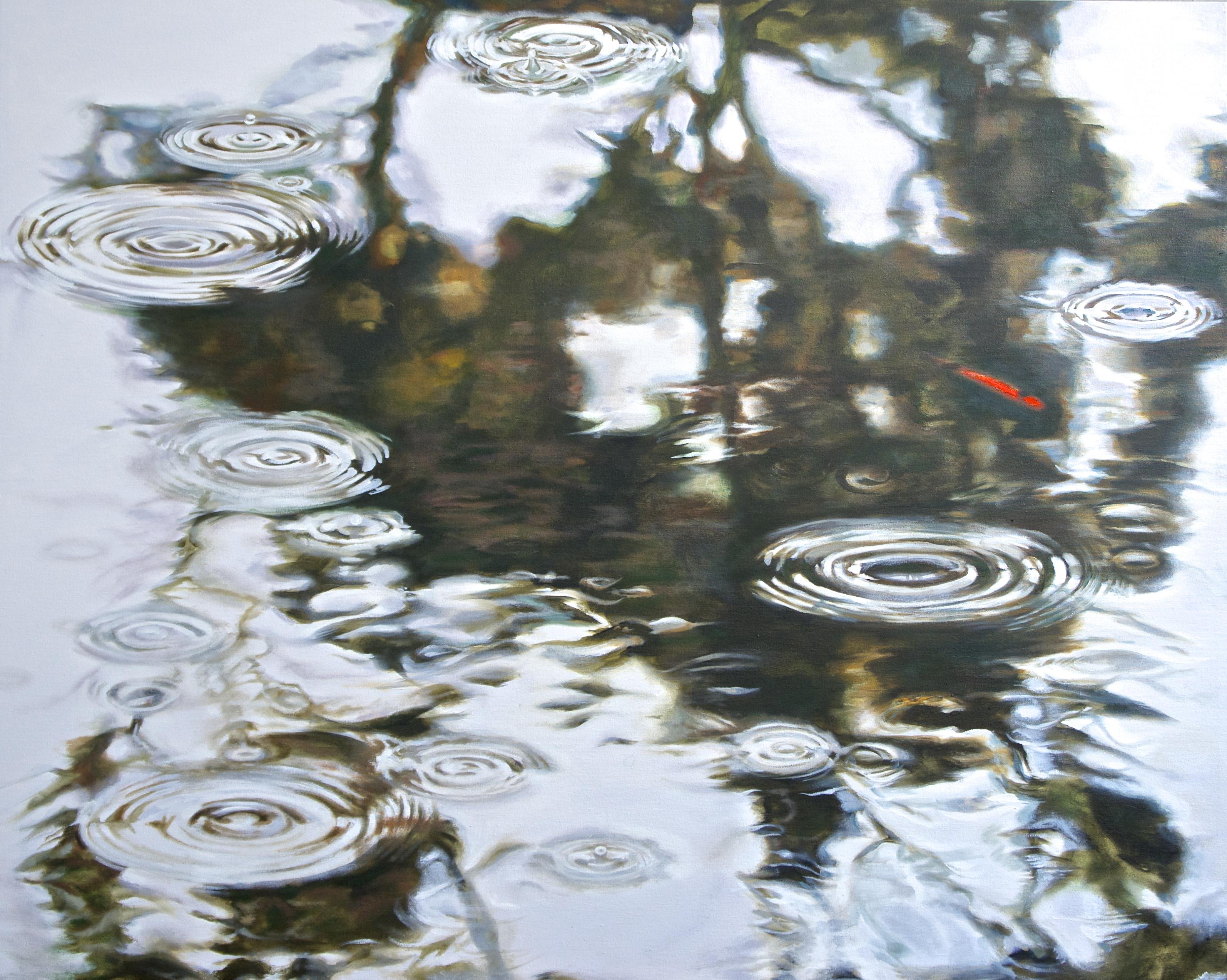Rain on Water: Eucalyptus tree reflected on rainy pond