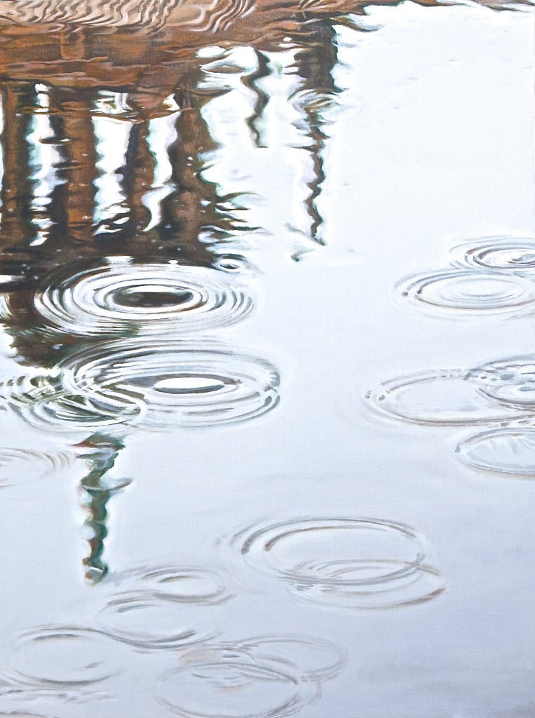 Rain on Water: Lath House Cupola reflected in rainy pond