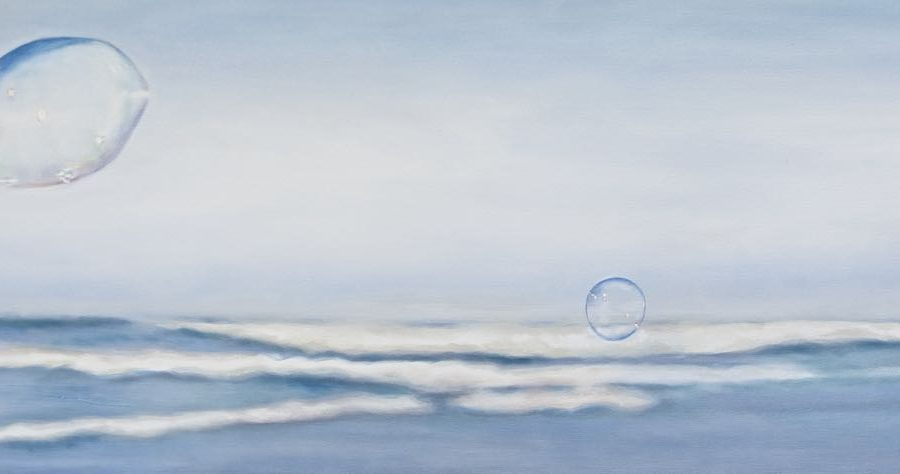 "BLOWN AWAY  oil on canvas  18 x 48"" available"