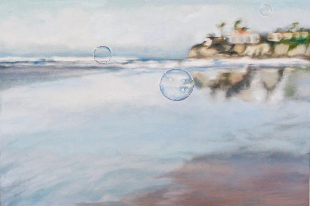 Soap Bubbles: soap bubbles floating at the beach near cliffs' edge