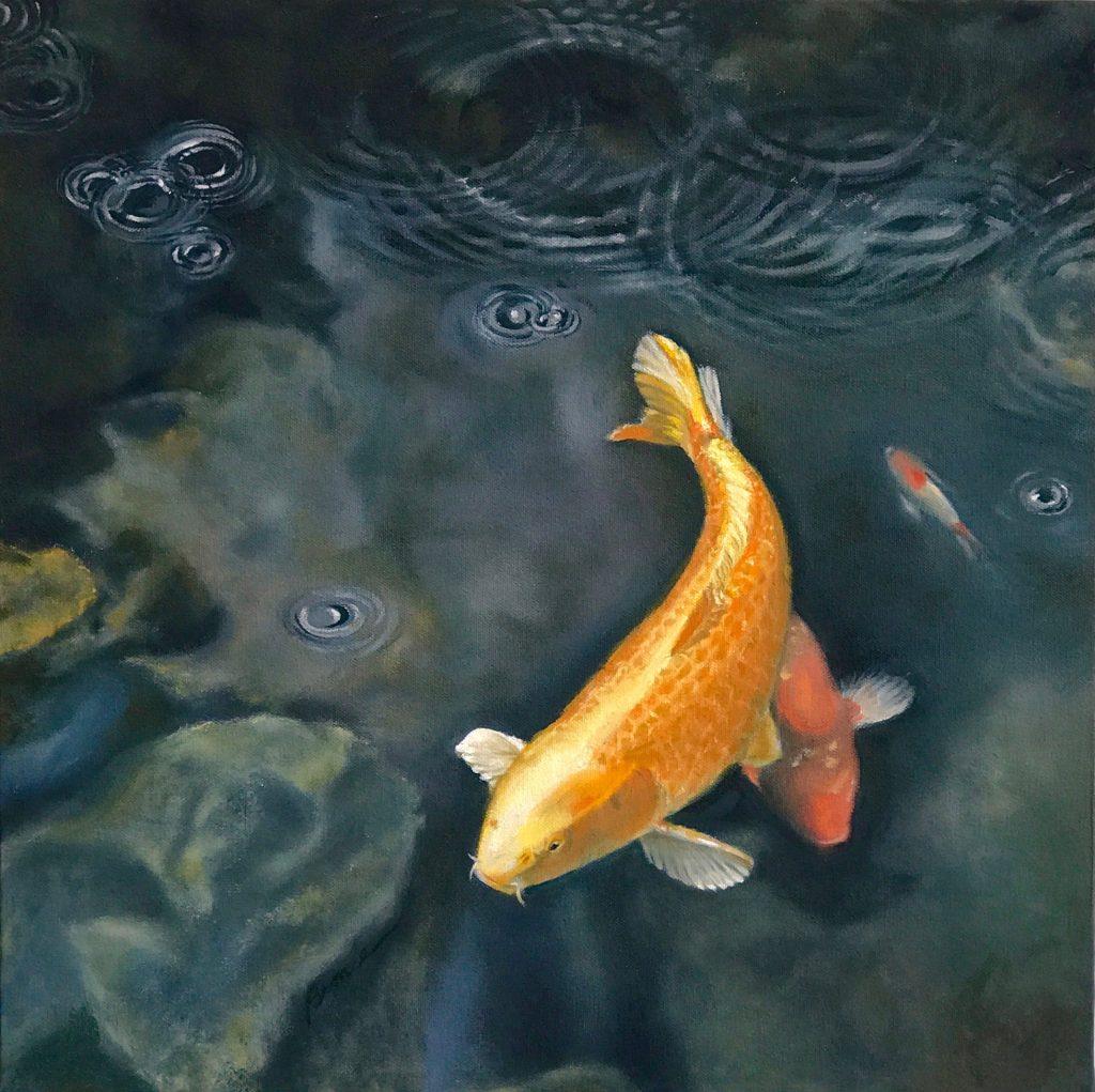 More Fine Art Oil Paintings: orange koi rainy pond