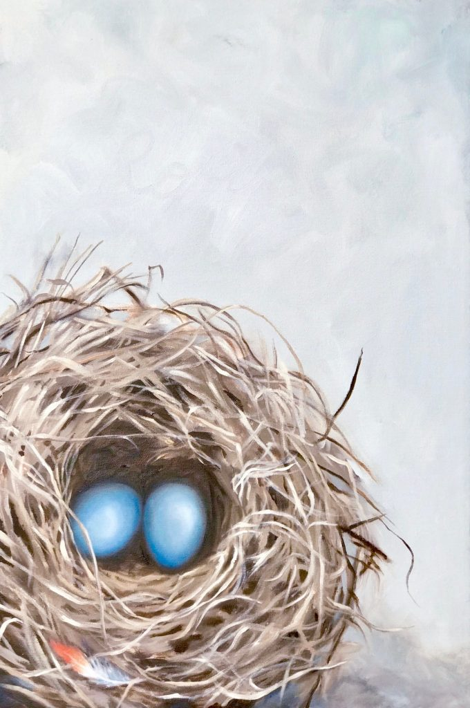 Eggs and Feathers: Two Robin's eggs in a nest, one Robin's feather