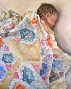 Portraits and Commissions: Great Granddaughter with Great Grandmother's quilt