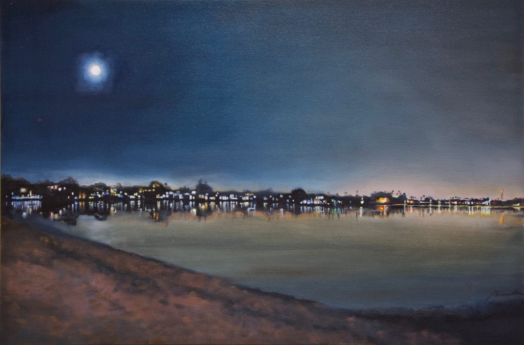 San Diego's Mission Bay at night full moon
