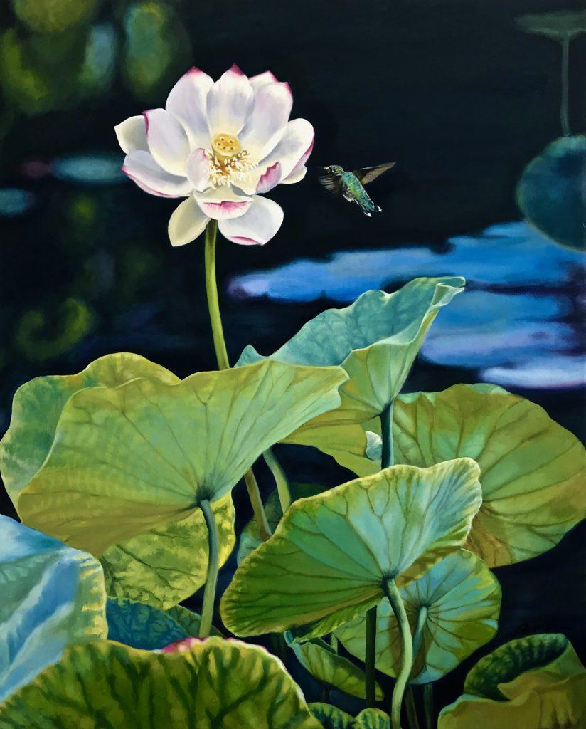 Pollinators: Blooming lotus with humming bird at dusk