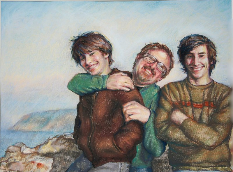 Portraits and Commissions: Pastel Father and Sons portrait